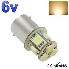 1 x 6v Warm White BA15s 8 SMD 5050 LED Side Interior Light Bulbs GLB 205 6 VOLT