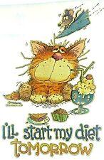 Original Vintage I'll Start My Diet Tomorrow Iron On Transfer Cat
