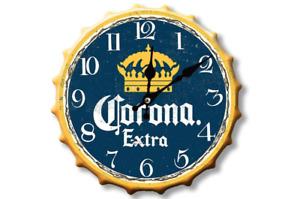 30cm Corona Extra Beer Lager Pub Clock Retro Wall Display Sign Metal Bottle Top