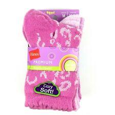 Hanes Premium Girls Comfortsoft Crew Socks Pink Medium 3 Pack
