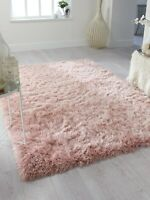 DAZZLE THICK SILKY SHINY SHIMMER SOFT SHAGGY RUG IN BLUSH PINK