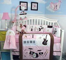 PINK CRIB BEDDING ROCKSTAR BABY Newborn Infant Nursery 13 Pc Quilt Sheets+ NEW
