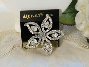 Monet Clear Rhinestone Flower Brooch Signed Pin New on Card