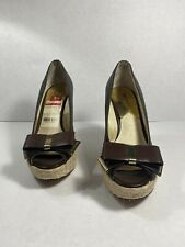 Michael Kors Meg brown monogram MK Logo Bow Espadrille peep Toe Wedges 5.5 M