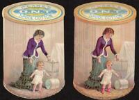 LOT/2 DIE CUT CLARK'S SPOOL COTTON THREAD*SAME FRONT/DIFFERENT BACK*BABY HARNESS