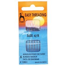 PONY SIZE 4/8 self threading /EASY THREADING HAND SEWING NEEDLES PACK OF 6 BNEW