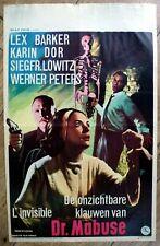 belgian poster DIE UNSICHTBAREN KRALLEN DES DR MABUSE, LEX BARKER, KARIN DOR