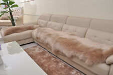 Double Pelt Sheepskin rug Light brown Lambskin rug 6' x 2'Two Pelts rug