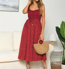 Boho Women Stretch Dress Dresses Sundress Strappy Size 6-16 Beach Polka Dot UK