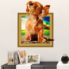 Dog Wall Sticker Animals Wall 3D Decal Vivid Art Mural Decor For Kid Living Room