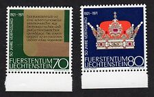 Liechtenstein: 50th Anniversary of 1921 Constitution; complete mint (MNH) set