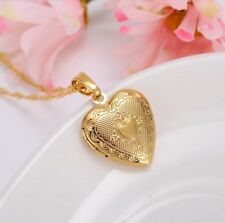 "24K Gold Plated Small Heart Locket Pendant Necklace Photo Picture 18""  N7-1"