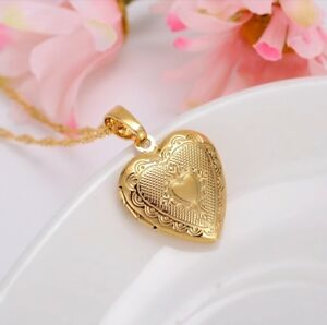 """24K Gold Plated Small Heart Locket Pendant Necklace Photo Picture 20"""" N7"""
