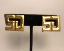 Vintage St John Logo Clip Earrings Gold Plated Rare Designer