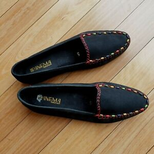 Ipanema Leather Black Flats Loafer Size 10 M, EU 40 25.5 cm