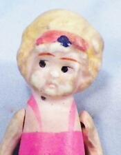 Vintage All Bisque Doll in Pink & Blue Bathing Suit Japan 3.5 inch Adorable