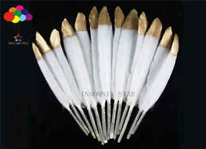 Duck Tail Feathers Gold head 4-6inch/10-15cm 10-100Pcs carnival Diy costume mask