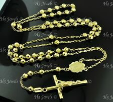 10.0 gr 14k Yellow gold diamond cut bead chain necklace rosary Guadalupe 26inch