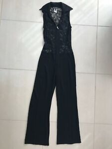 Bebe Women Sz S Jumpsuit Black Lace Zip Front Sheer Stretch Knit Sleeveless