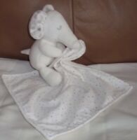 Marks & Spencer White & Spotted Elephant Baby Comforter Blankie Soft Toy VGC