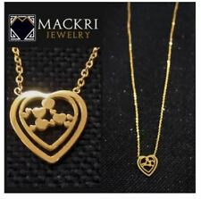 MACKRI Gold Stainless Steel Chain Necklace with Hearts in a Heart Pendant