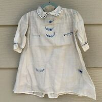 Vintage Child's Hand Embroidered Linen Shirt White & Blue 4T?