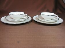 Franciscan China Platinum Band Plate Cup & Saucer Trio - Both Sets - Pre-1982
