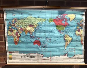 Large Vintage Philip's School Room Map Of The World Showing Commonwealth ~ 1970