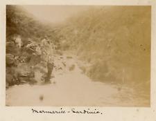 """Marmarice - Sardinia"" Vintage albumen print. Hommes à la baignade Tirage albu"