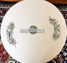 White Marble Side Coffee Table Top Marquetry Inlay Work Art Bedroom Decor H4044