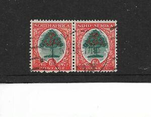 1926 South Africa - KGV 6d Orange Tree - Bilingual Pair - Very Clean Used.