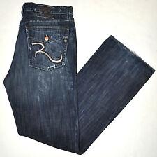 Rock & Republic Taylor Distressed Bootcut Jeans W/ Button Flaps 38 X 34 3/4 Long