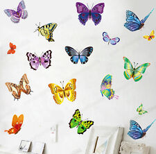 17 Colourful Butterflies Wall Stickers Transparent Vinyl Decal Home Kids Decor