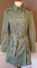 Marc Jacobs 4 Light Olive Green Military Style Belted Trench Coat