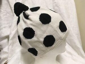 Gymboree Cotton Knit Polka Dot Hat w Pom Pom top Girls 5-7