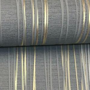 Charcoal Grey Gold Metallic Stripe Textured Blown Vinyl Wallpaper Feature Dark
