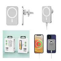 For iPhone 12/12 Pro Max/12 Mini 15W Magnetic Wireless Charging Pad Car Charger