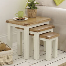 Cotswold Cream Painted Nest of Three Coffee Tables - 3 Side Coffee Lamp - WT20