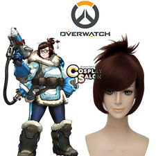 Anime Overwatch OW Cosplay Dr. Mei-Ling Zhou Mixed Red Brown Cosplay Full Wig