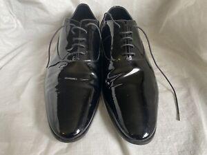 saint laurent paris patent leather lace-up shoes sz 41.5