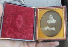 """RARE Vintage Antique Daguerreotype Photo Dag 3.75"""" & Case Lady 1800's Dress LOOK"""