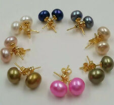 Wholesale AA 8 pairs  8-9 mm multicolor pearl stud 18K gold on 925 silver