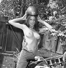 1960s Pinup Topless in Open Jumpsuit Sitting on Motorcycle 8 x 8 Photograph