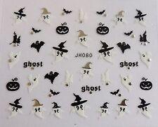 "Halloween 3D Nail Art Stickers Sparkly ""Pumpkin & Ghosts"" Silver,Black,White 080"