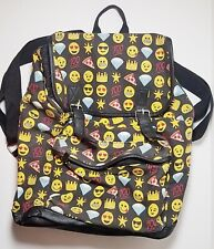 Emoji Logo Smiley Faces Backpack Emoticon Shoulder Strap Carry Travel Bag