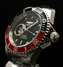 Invicta Pro Diver Open Heart Automatic NH38A Black & Red Bezel SS Watch 20435
