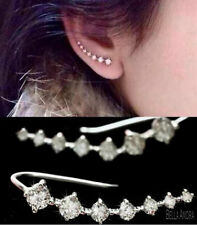 18K White Gold Plated Crystal Rhinestone Hook Wrap Ear Cuff Stud Earrings UK 133