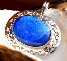 Groß Silber Kettenanhänger Lapis Lazuli Handarbeit Blau Pyrit Gold Ova Schlicht