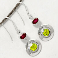 Peridot and Indian Ruby 925 Sterling Silver Earrings Jewelry AE17800