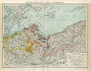 1895 GERMANY MECKLENBURG and POMERANIA STATE now POLAND Antique Map